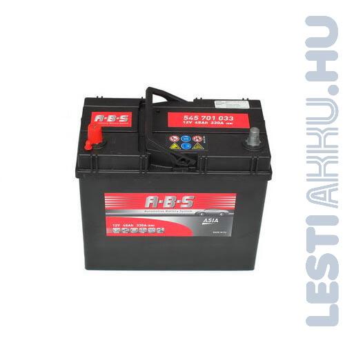 ABS ASIA Autó Akkumulátor 12V 45Ah 330A Japán Bal+ (545701033)