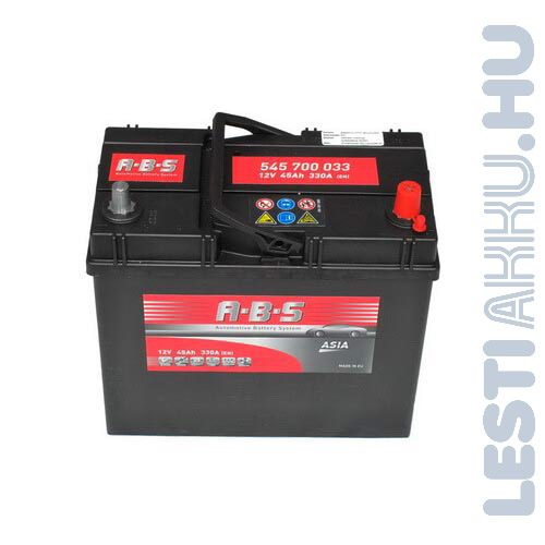 ABS ASIA Autó Akkumulátor 12V 45Ah 330A Japán jobb+ (545700033)