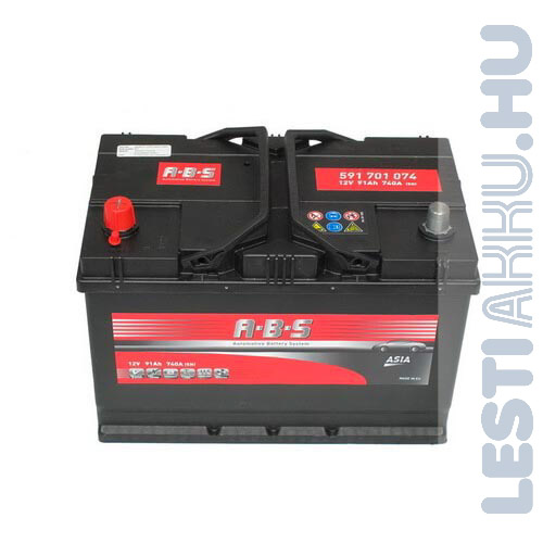 ABS ASIA Autó Akkumulátor 12V 91Ah 740A Japán Bal+ (591701074)