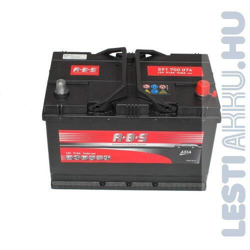 ABS ASIA Autó Akkumulátor 12V 91Ah 740A japán Jobb+ (591700074)