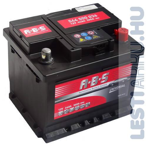 ABS Universal Autó Akkumulátor 12V 44Ah 360A Jobb+