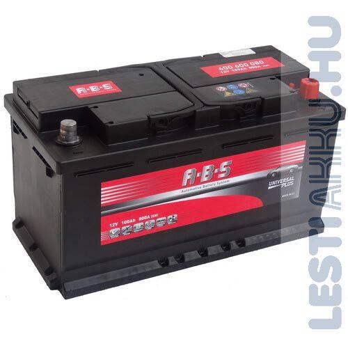 ABS Universal Plus Autó Akkumulátor 12V 100Ah 800A Jobb+