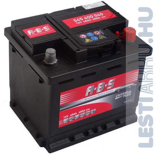 ABS Universal Plus Autó Akkumulátor 12V 45Ah 400A Jobb+