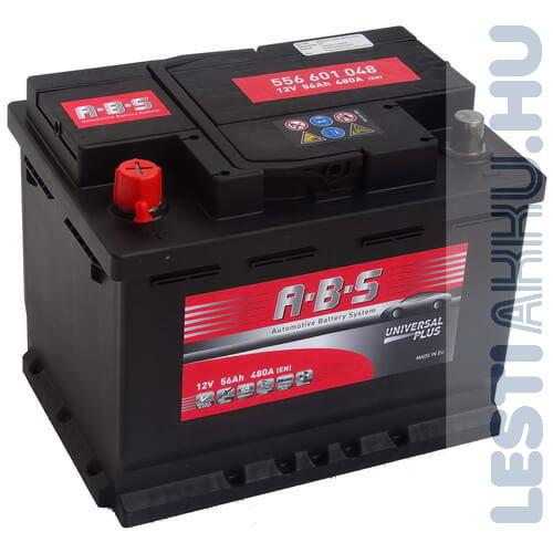 ABS Universal Plus Autó Akkumulátor 12V 56Ah 480A Bal+