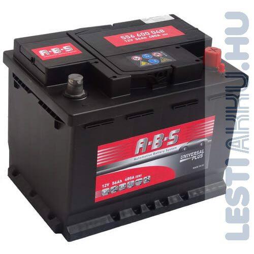 ABS Universal Plus Autó Akkumulátor 12V 56Ah 480A Jobb+
