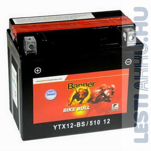 Banner Bike Bull AGM Motor Akkumulátor YTX12-BS 12V 10Ah 160A Bal+ (51012)