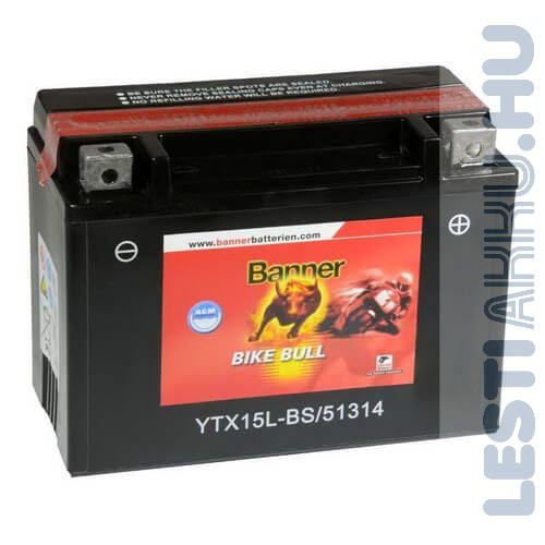 Banner Bike Bull AGM Motor Akkumulátor YTX15L-BS 12V 13Ah 180A Jobb+ (51314)