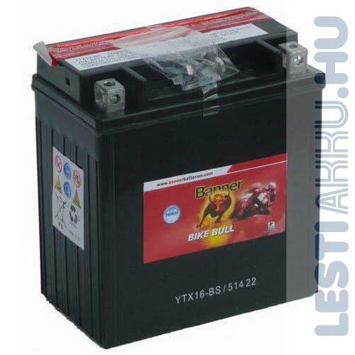 Banner Bike Bull AGM Motor Akkumulátor YTX16-BS 12V 14Ah 230A Bal+ (51422)