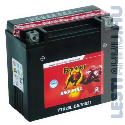 Banner Bike Bull AGM Motor Akkumulátor YTX20L-BS 12V 18Ah 250A Jobb+ (51821)