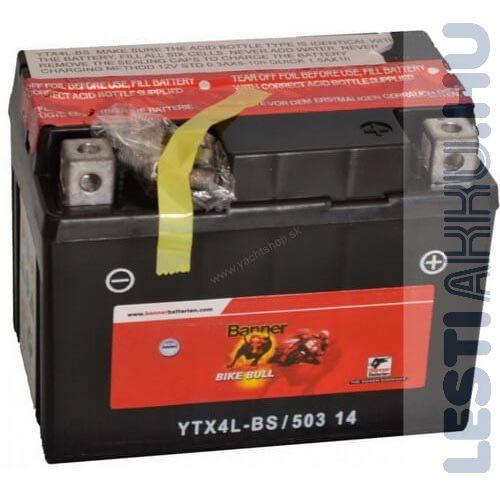 Banner Bike Bull AGM Motor Akkumulátor YTX4L-BS 12V 3Ah 35A Jobb+ (50314)
