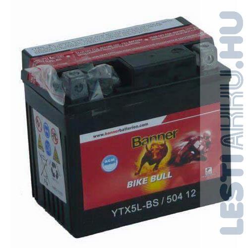 Banner Bike Bull AGM Motor Akkumulátor YTX5L-BS 12V 4Ah 70A Jobb+ (50412)