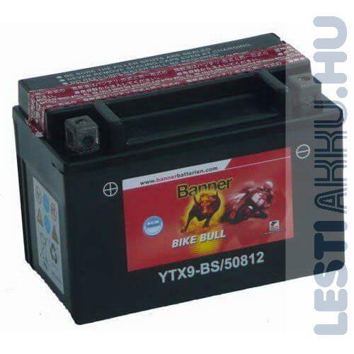 Banner Bike Bull AGM Motor Akkumulátor YTX9-BS 12V 8Ah 110A bal+ (50812)