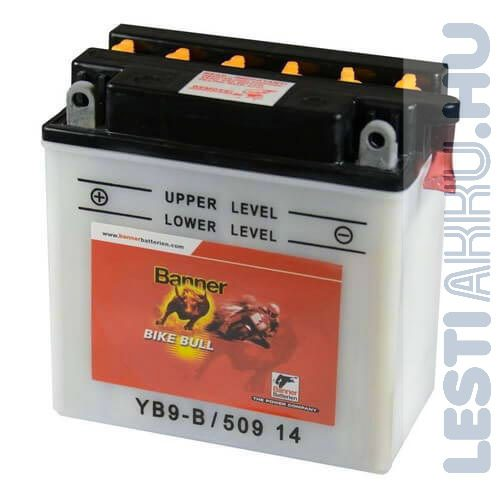 Banner Bike Bull Motor Akkumulátor YB9-B 12V 9Ah 90A Bal+ (50914)
