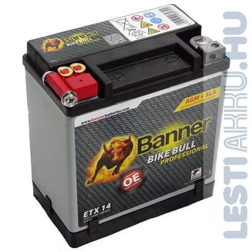 Banner Bike Bull Professional AGM Motor Akkumulátor ETX14 12V 12Ah 220A Bal+ (51401)