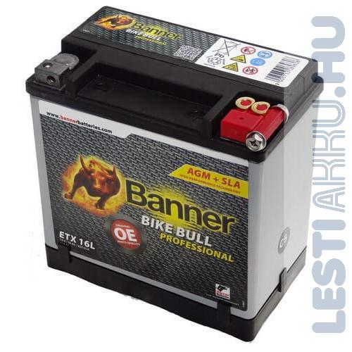 Banner Bike Bull Professional AGM Motor Akkumulátor ETX16L 12V 19Ah 325A Jobb+ (51601)