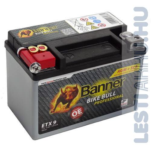 Banner Bike Bull Professional AGM Motor Akkumulátor ETX9 12V 8Ah 120A Bal+ (50901)