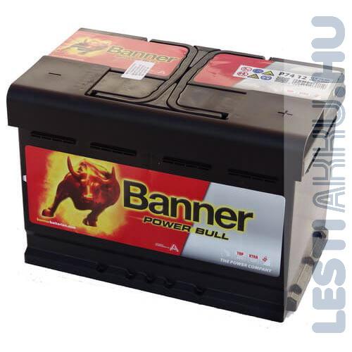 Banner Power Bull Autó Akkumulátor 12V 74Ah 680A Jobb+ (P7412)
