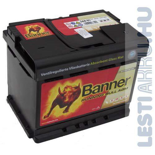 Banner Running Bull Akkumulátor AGM 12V 60Ah 640A Jobb+ (56001)