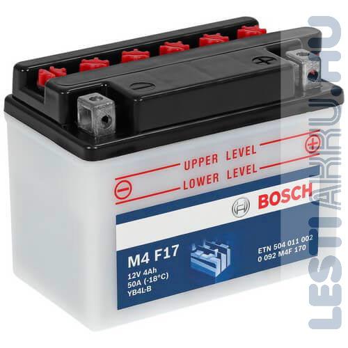 BOSCH M4 F17 Motor Akkumulátor YB4L-B 12V 4Ah 50A Jobb+ (0092M4F170)