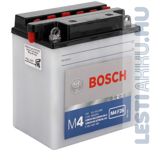 BOSCH M4 F28 Motor Akkumulátor YB10L-A2 (12N10-3A) 12V 11Ah 150A Jobb+ (0092M4F280)