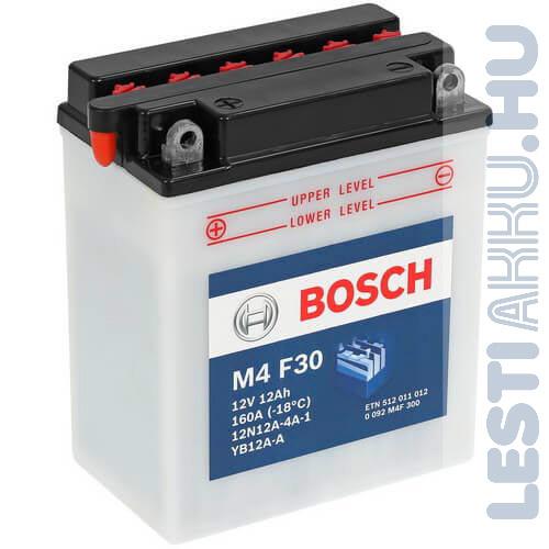 BOSCH M4 F30 Motor Akkumulátor YB12A-A (12N12A-4A-1) 12V 12Ah 160A Bal+ (0092M4F300)