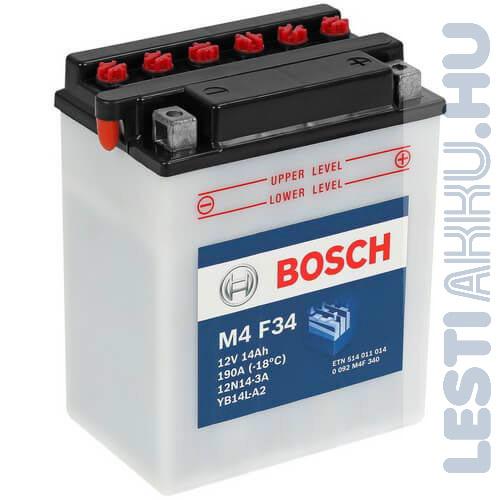 BOSCH M4 F34 Motor Akkumulátor YB14L-A2 (12N14-3A) 12V 14Ah 190A Jobb+ (0092M4F340)