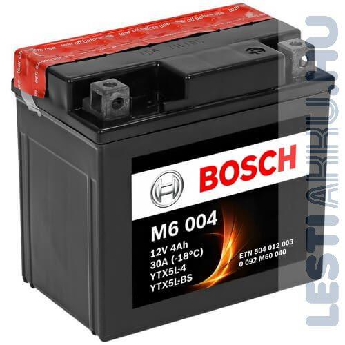 BOSCH M6 004 Motor Akkumulátor YTX5L-BS 12V 4Ah 80A Jobb+ (0092M60040)