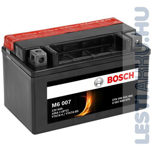 BOSCH M6 007 Motor Akkumulátor YTX7A-BS 12V 6Ah 105A Bal+ (0092M60070)