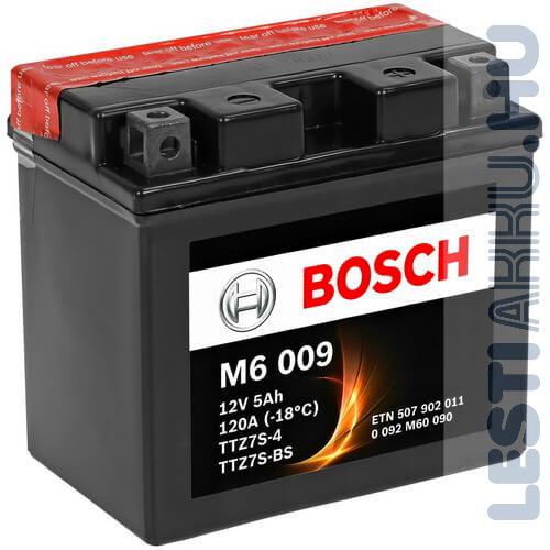 BOSCH M6 009 Motor Akkumulátor TTZ7S-4 (YTZ7S-BS) 12V 5Ah 120A Jobb+ (0092M60090)