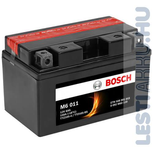 BOSCH M6 011 Motor Akkumulátor TTZ10S-4 (YTZ10S-BS) 12V 8Ah 150A Bal+ (0092M60110)