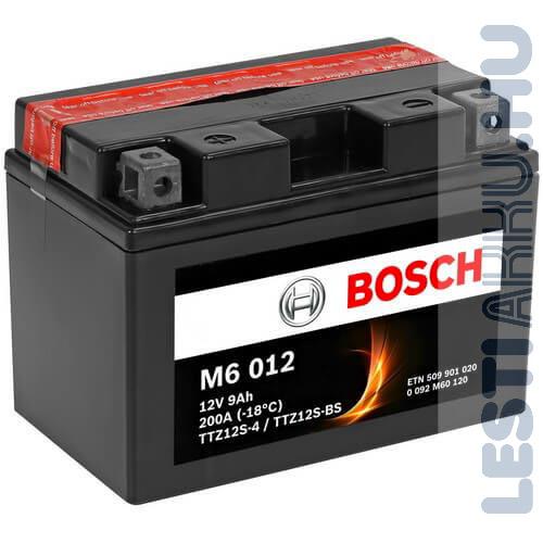 BOSCH M6 012 Motor Akkumulátor TTZ12S-4 (YTZ12S-BS) 12V 9Ah 200A Bal+ (0092M60120)
