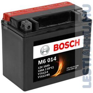 BOSCH M6 014 Motor Akkumulátor YTX12-BS 12V 10Ah 150A Bal+ (0092M60140)