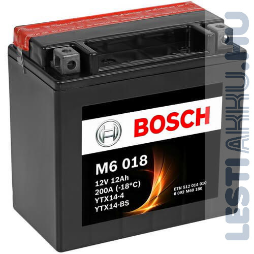 BOSCH M6 018 Motor Akkumulátor YTX14-BS 12V 12Ah 200A Bal+ (0092M60180)