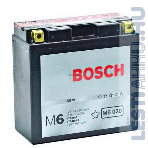 BOSCH M6 020 Motor Akkumulátor YT14B-4 (YT14B-BS) 12V 13Ah 190A Bal+ (0092M60200)