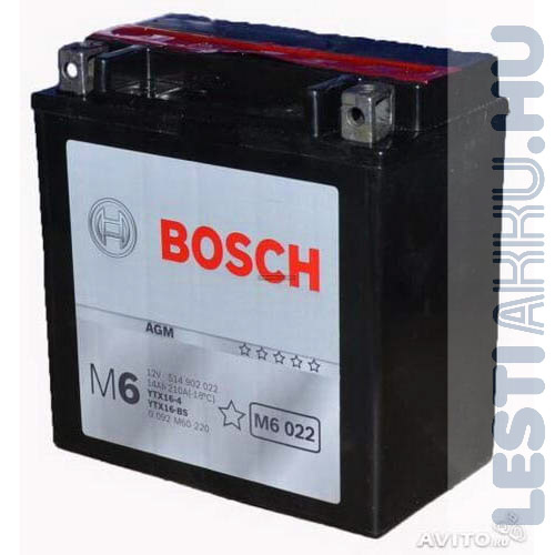 BOSCH M6 022 Motor Akkumulátor YTX16-BS 12V 14Ah 220A Bal+ (0092M60220)