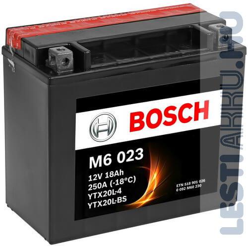 BOSCH M6 023 Motor Akkumulátor YTX20L-BS 12V 18Ah 250A Jobb+ (0092M60230)