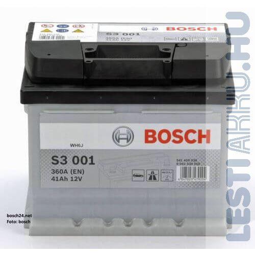 BOSCH Silver S3 Autó Akkumulátor 12V 41Ah 360A jobb+ (0092S30010)