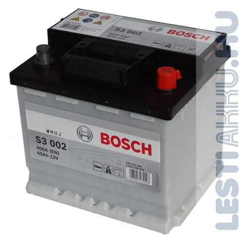 BOSCH Silver S3 Autó Akkumulátor 12V 45Ah 400A Jobb+ (0092S30020)