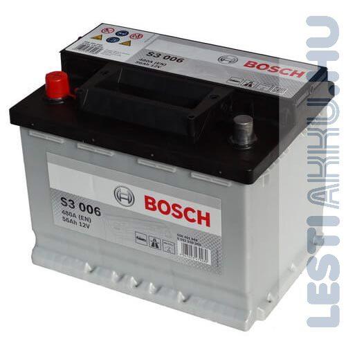 BOSCH Silver S3 Autó Akkumulátor 12V 56Ah 480A Bal+ (0092S30060)