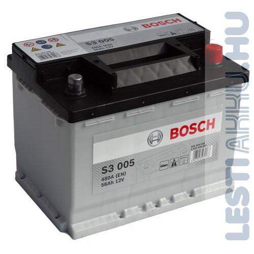 BOSCH Silver S3 Autó Akkumulátor 12V 56Ah 480A Jobb+ (0092S30050)