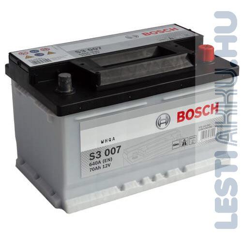 BOSCH Silver S3 Autó Akkumulátor 12V 70Ah 640A Alacsony Jobb+ (0092S30070)