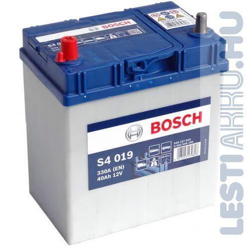 BOSCH Silver S4 Autó Akkumulátor 12V 40Ah 330A Japán Bal+ (0092S40190)