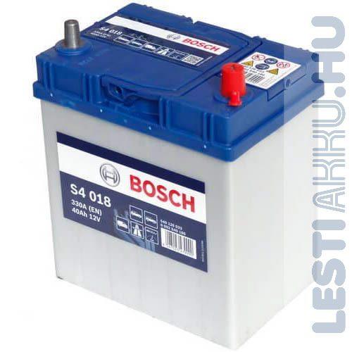 BOSCH Silver S4 Autó Akkumulátor 12V 40Ah 330A Japán Jobb+ (0092S40180)