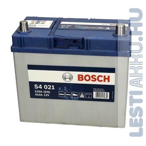 BOSCH Silver S4 Autó Akkumulátor 12V 45Ah 330A Japán Jobb+ (0092S40210)