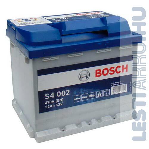 BOSCH Silver S4 Autó Akkumulátor 12V 52Ah 470A Jobb+ (0092S40020)