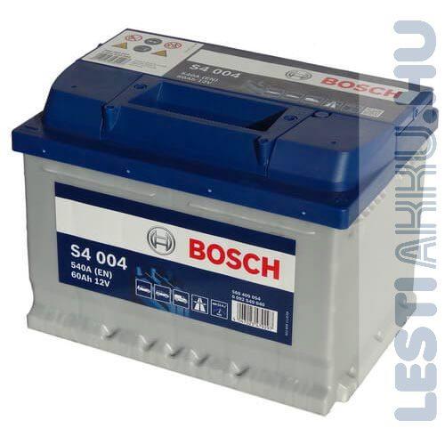 BOSCH Silver S4 Autó Akkumulátor 12V 60Ah 540A Alacsony Jobb+ (0092S40040)