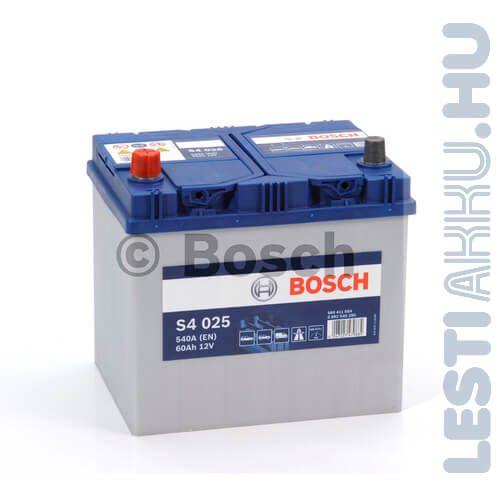 BOSCH Silver S4 Autó Akkumulátor 12V 60Ah 540A Japán Bal+ (0092S40250)