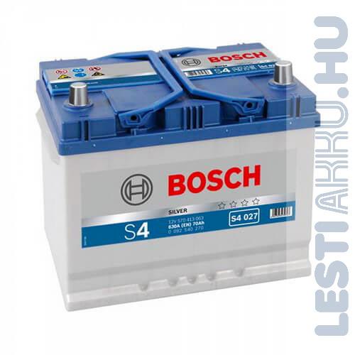 BOSCH Silver S4 Autó Akkumulátor 12V 70Ah 630A Japán Jobb+ (0092S40260)