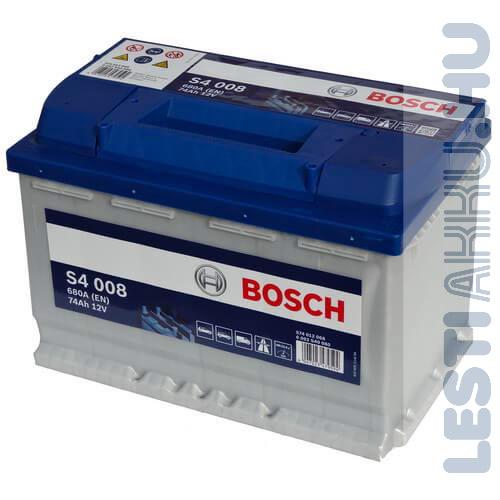 BOSCH Silver S4 Autó Akkumulátor 12V 74Ah 680A Jobb+ (0092S40080)