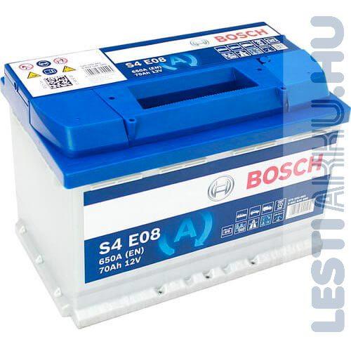BOSCH Silver S4 EFB Autó Akkumulátor 12V 70Ah 650A Jobb+ (0092S4E080)